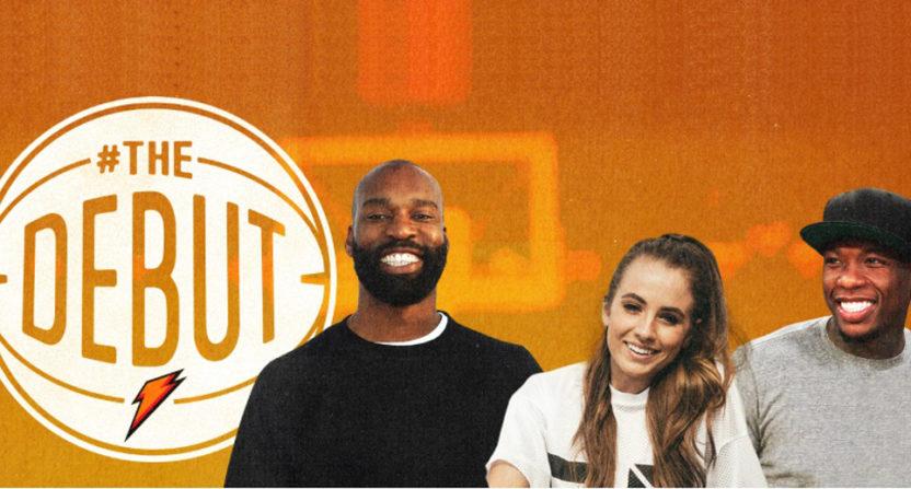 The Debut's broadcast team of Baron Davis, Rachel Demita and Nate Robinson.