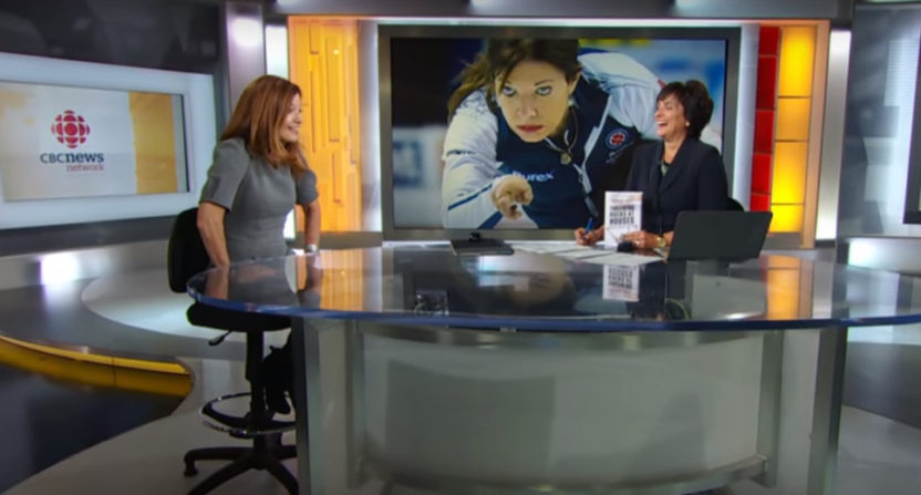 Colleen Jones (L) discusses her book in a 2015 CBC interview.