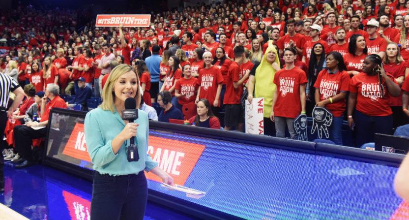 Kristen Balboni broadcasting the Vanderbilt at Belmont game for Stadium in November 2017.