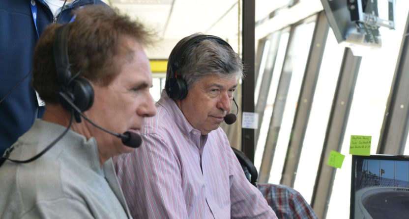 Mike Joy (R) with analyst Darrell Waltrip in 2015.