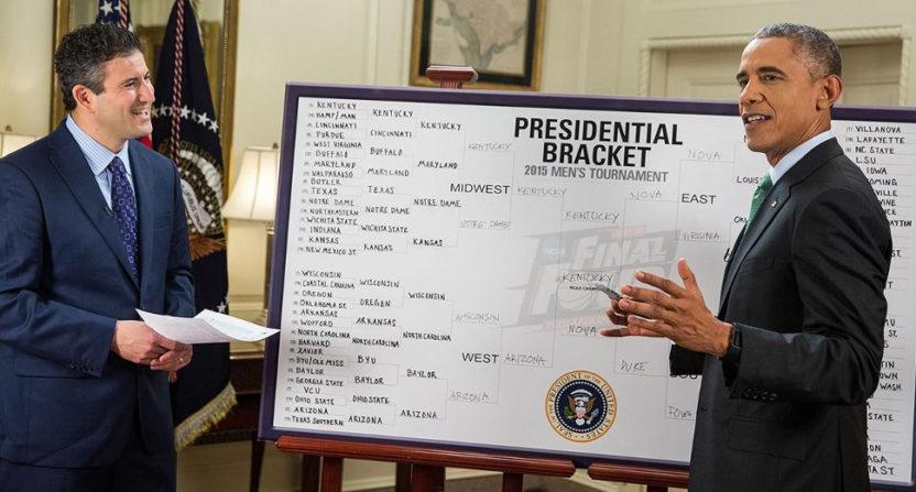 President Obama filling out his bracket on ESPN.
