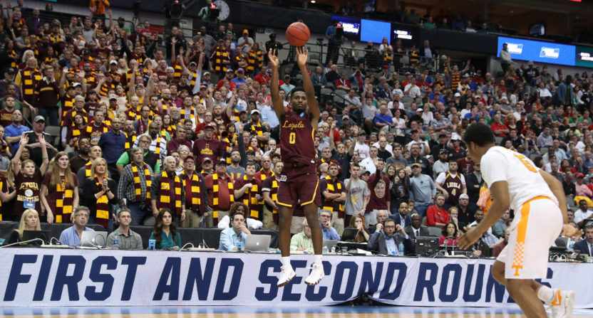 People Cheer on Loyola in their Final Four match-up against MI