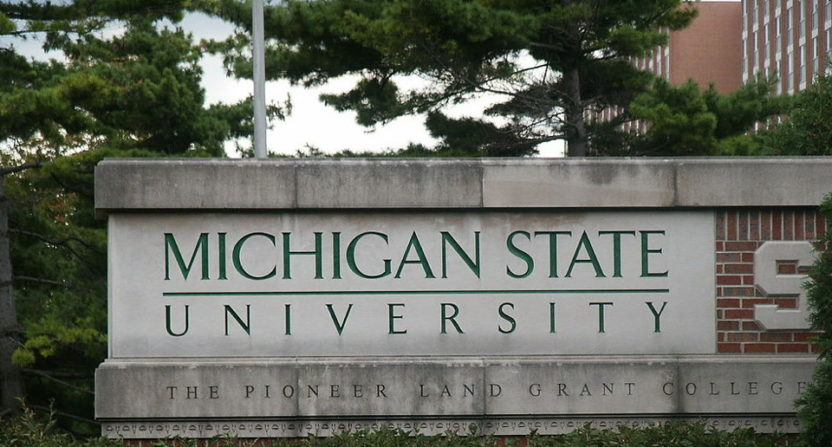 A Michigan State sign on campus.