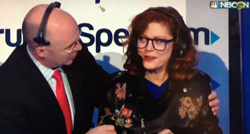 Pierre McGuire and Susan Sarandon.