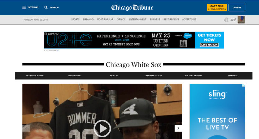 The Chicago Tribune's White Sox front.