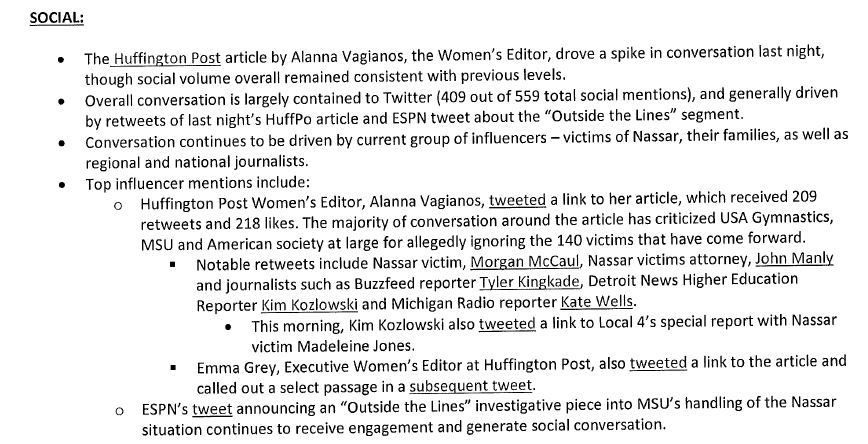 A Weber Shandwick coverage roundup sent to MSU.