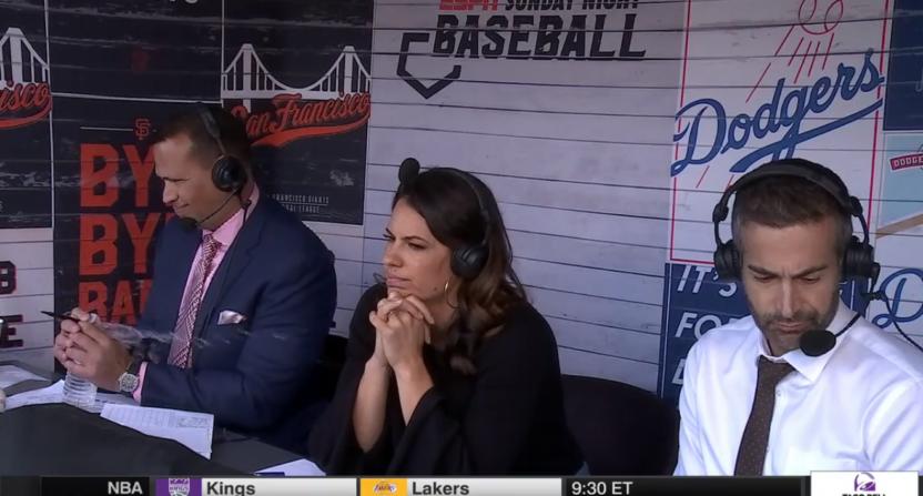 Alex Rodriguez, Jessica Mendoza and Matt Vasgersian on Sunday Night Baseball.