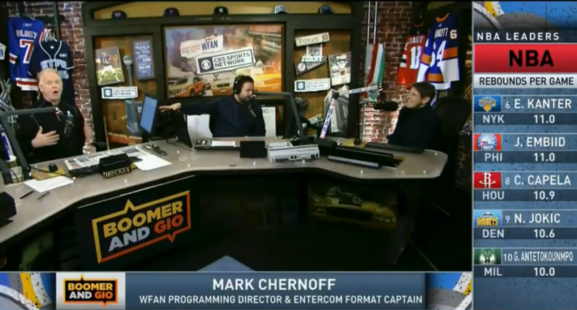 Boomer Esiason, Gregg Giannotti and Mark Chernoff at WFAN.
