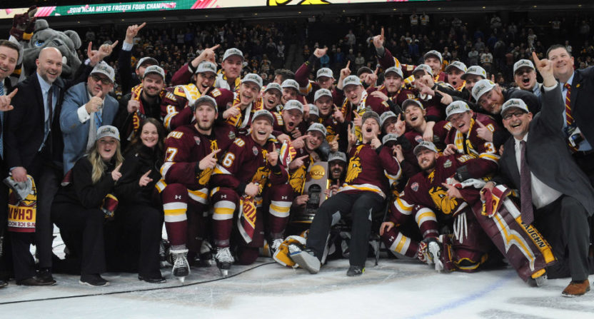 The Minnesota-Duluth Bulldogs celebrate their Frozen Four championship.