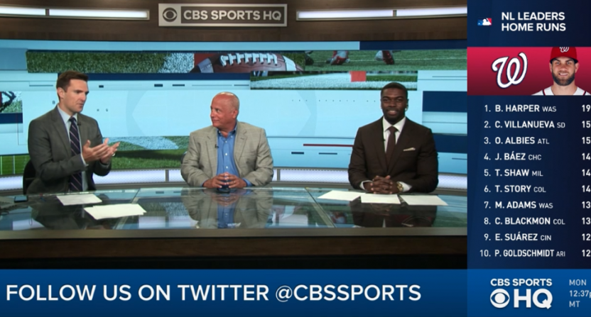 Chris Hassel with Pete Prisco and Bryant McFadden on CBS Sports HQ.