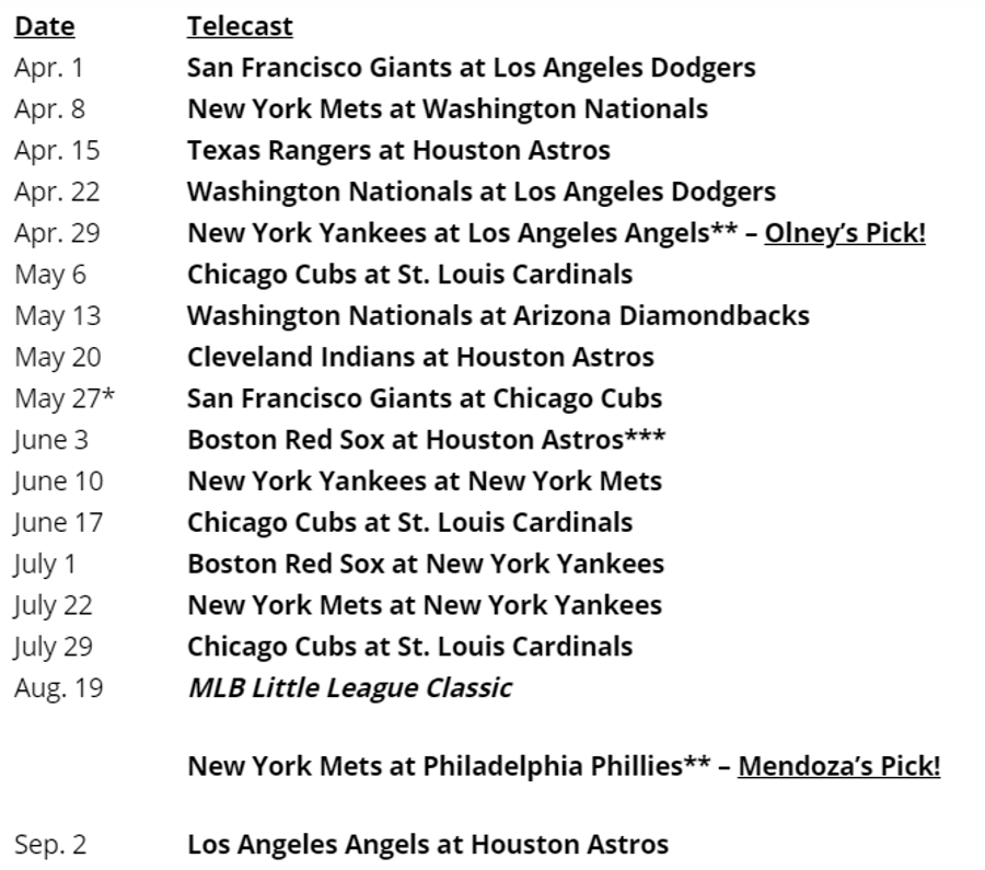 The 2018 Sunday Night Baseball lineup.