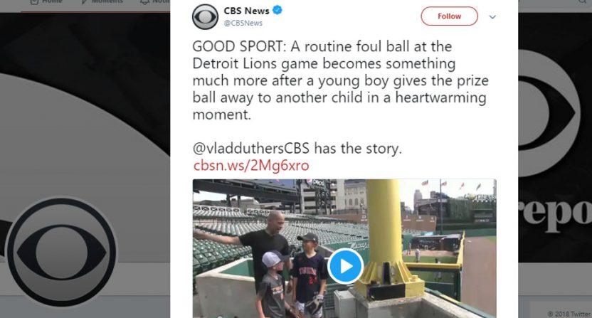 CBS News' mistweet on the Lions.