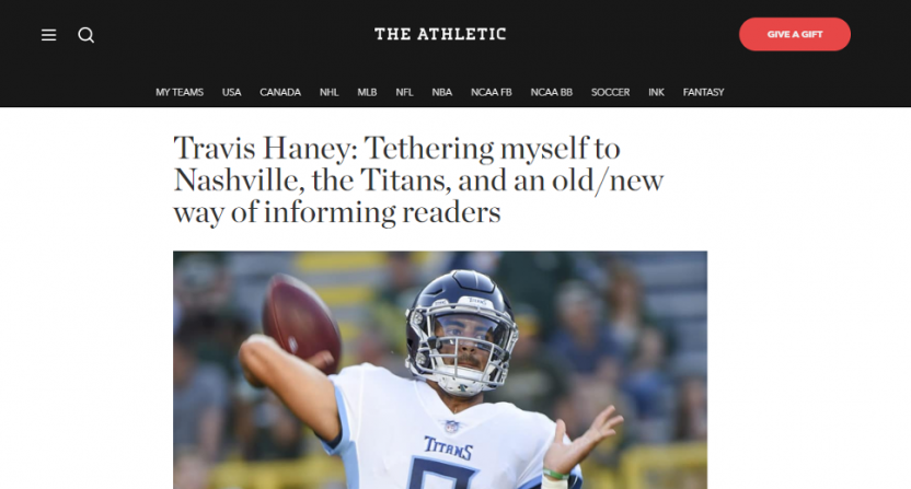 Travis Haney joins The Athletic.