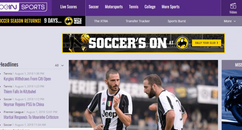 beIN Sports' page on Aug. 1, 2018.