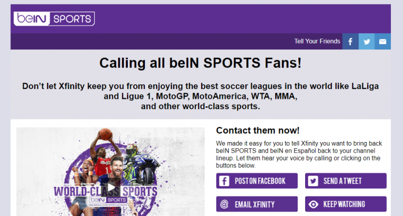 beIN Sports' page about their dispute with Comcast.