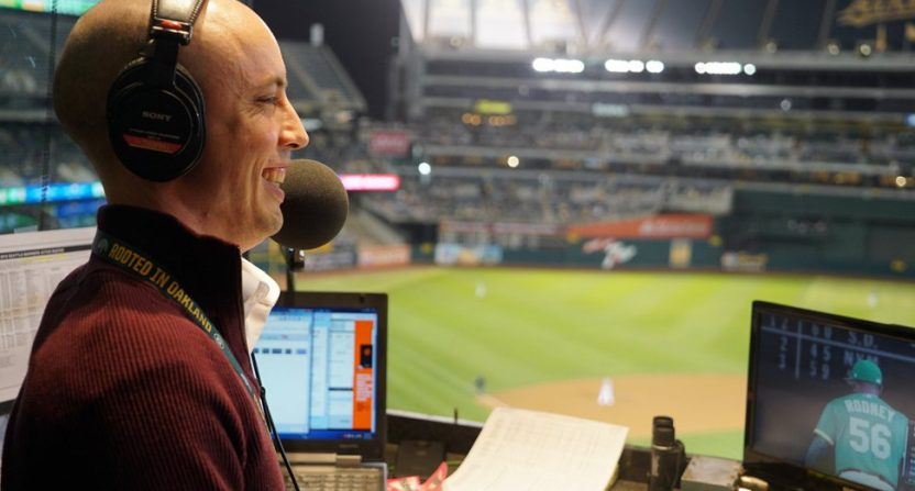Donny Baarns calling a game for the A's.