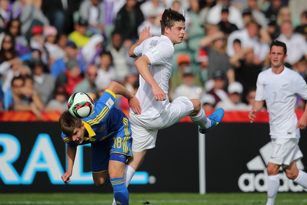 Eduard Sobol of Ukraine during the FIFA U-20 World Cup New Zealand 2015 Group A match between New Zealand and Ukraine on May 30, 2015 in Auckland, New Zealand.