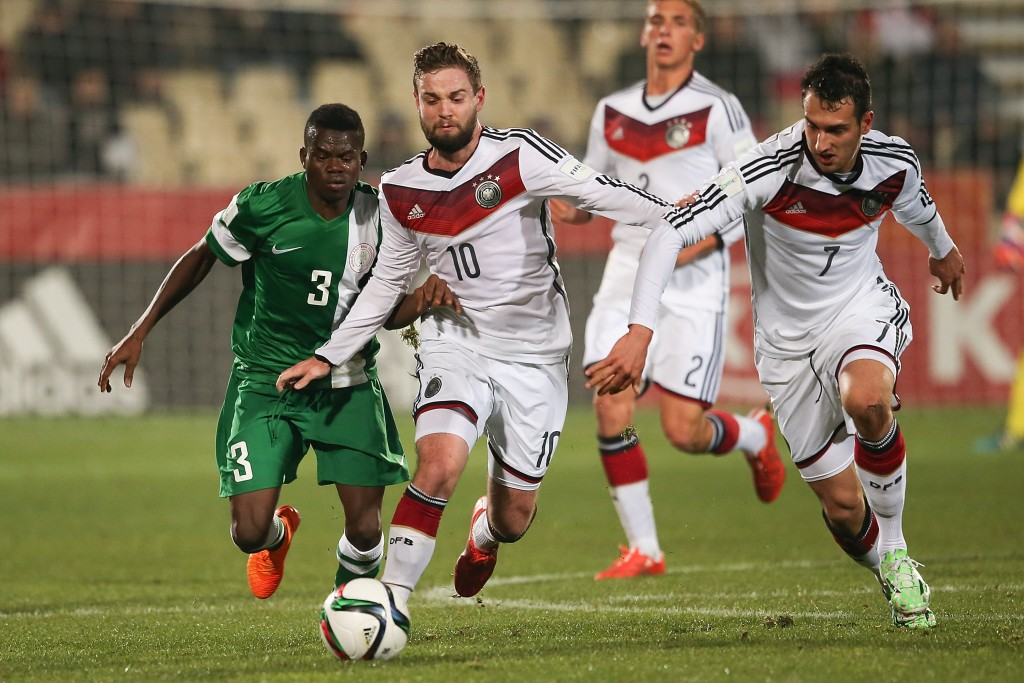 CHRISTCHURCH, NEW ZEALAND - JUNE 11: Marc Stendera (C) of Germany battles for the ball with Abdullahi Mustapha (L) of Nigeria during the FIFA U-20 World Cup New Zealand 2015 Round of 16 match between Germany and Nigeria at Christchurch Stadium on June 11, 2015 in Christchurch, New Zealand.  (Photo by Martin Hunter/Getty Images)