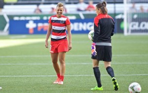 August 9, 2015; Portland, OR, USA; Portland Thorns midfielder Lianne Sanderson (23) warms up before the match at Providence Park. Photo: Craig Mitchelldyer-Portland Thorns FC