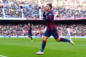 BARCELONA, SPAIN - DECEMBER 20:  Pedro Rodriguez of FC Barcelona celebrates after scoring the opening goal during the La Liga match between FC Barcelona and Cordoba CF at Camp Nou on December 20, 2014 in Barcelona, Spain.  (Photo by David Ramos/Getty Images)