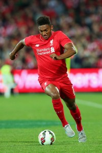 during the international friendly match between Adelaide United and Liverpool FC at Adelaide Oval on July 20, 2015 in Adelaide, Australia.