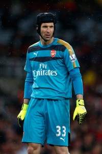LONDON, ENGLAND - AUGUST 24:  Petr Cech of Arsenal looks on during the Barclays Premier League match between Arsenal and Liverpool at the Emirates Stadium on August 24, 2015 in London, United Kingdom.  (Photo by Julian Finney/Getty Images)