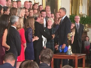 Abby Wambach shaking President Obama's hand after his speech about the USWNT in the East Room of the White House.