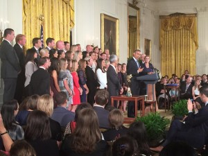 The USWNT being honored by President Obama for winning the Women's World Cup. 10/27/15