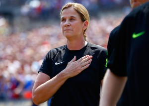 PITTSBURGH, PA - AUGUST 16:  Head coach Jill Ellis of the United States in action against Costa Rica during the match at Heinz Field on August 16, 2015 in Pittsburgh, Pennsylvania.  (Photo by Jared Wickerham/Getty Images)