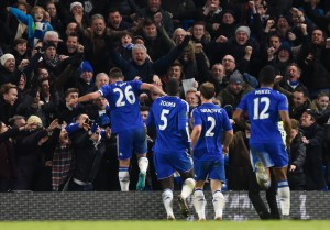 LONDON, ENGLAND - JANUARY 16:  John Terry(1st L) of Chelsea celebrates scoring his team's third goal during the Barclays Premier League match between Chelsea and Everton at Stamford Bridge on January 16, 2016 in London, England.  (Photo by Mike Hewitt/Getty Images)