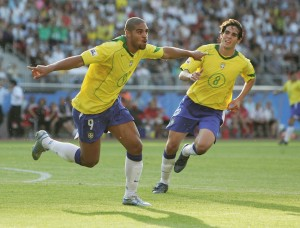 NUREMBERG, GERMANY - JUNE 25:  Adriano of Brazil celebrates after scoring Barazil's third goal during the 2005 FIFA Confederations Cup Semi Final match between Germany and Brazil at the Frankenstadion on June 25, 2005, in Nuremberg, Germany.  (Photo by Ben Radford/Getty Images)
