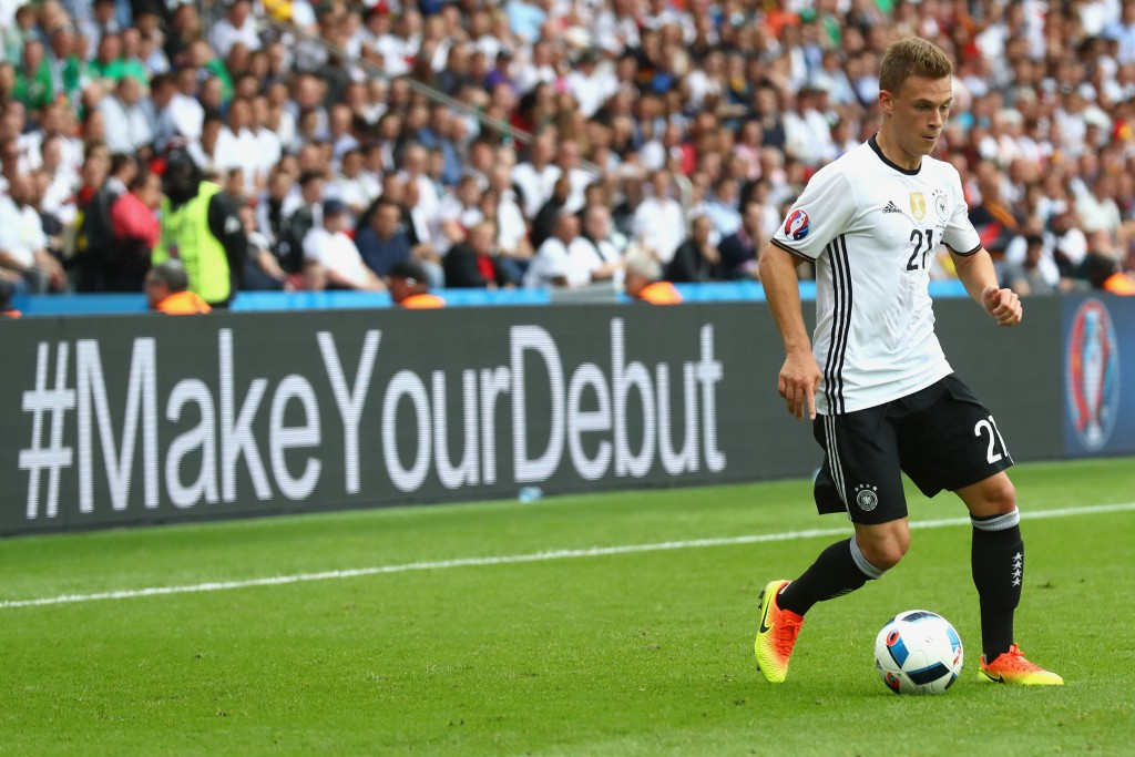 PARIS, FRANCE - JUNE 21:  Joshua Kimmich of Germany runs with the ball during the UEFA EURO 2016 Group C match between Northern Ireland and Germany at Parc des Princes on June 21, 2016 in Paris, France.  (Photo by Alexander Hassenstein/Getty Images)