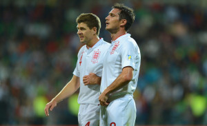 CHISINAU, MOLDOVA - SEPTEMBER 07: Steven Gerrard and Frank Lampard of England look on during the FIFA 2014 World Cup qualifier match between Moldova and England at Zimbru Stadium on September 7, 2012 in Chisinau, Moldova.  (Photo by Michael Regan/Getty Images)