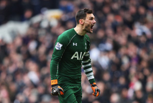 LONDON, ENGLAND - MARCH 05:  Hugo Lloris of Tottenham Hotspur celebrates during the Barclays Premier League match between Tottenham Hotspur and Arsenal at White Hart Lane on March 5, 2016 in London, England.  (Photo by Paul Gilham/Getty Images)