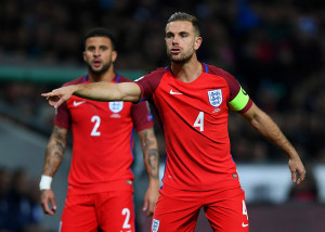 LJUBLJANA, SLOVENIA - OCTOBER 11:  Jordan Henderson of England signals to his team-mates during the FIFA 2018 World Cup Qualifier Group F match between Slovenia and England at Stadion Stozice on October 11, 2016 in Ljubljana, Slovenia.  (Photo by Laurence Griffiths/Getty Images)