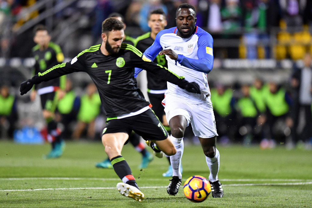 COLUMBUS, OH - NOVEMBER 11: Jozy Altidore #17 of the United States defends against Miguel Layn #7 of Mexico in the first half during the FIFA 2018 World Cup Qualifier at MAPFRE Stadium on November 11, 2016 in Columbus, Ohio. (Photo by Jamie Sabau/Getty Images)