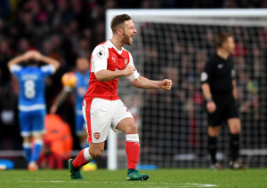 LONDON, ENGLAND - NOVEMBER 27: Shkodran Mustafi of Arsenal celebrates his sides second goal during the Premier League match between Arsenal and AFC Bournemouth at Emirates Stadium on November 27, 2016 in London, England.  (Photo by Shaun Botterill/Getty Images)