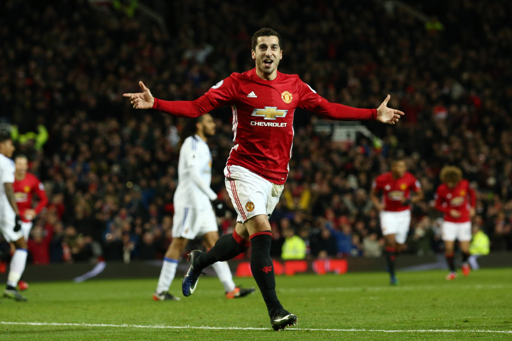 MANCHESTER, ENGLAND - DECEMBER 26:  Henrikh Mkhitaryan of Manchester United celebrates after scoring his team's third goal during the Premier League match between Manchester United and Sunderland at Old Trafford on December 26, 2016 in Manchester, England.  (Photo by Jan Kruger/Getty Images)