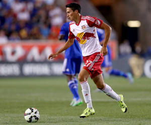 HARRISON, NJ - JULY 22:  Sean Davis #27 of New York Red Bulls takes the ball in the second half against Chelsea during the International Champions Cup at Red Bull Arena on July 22, 2015 in Harrison, New Jersey.The New York Red Bulls defeated Chelsea 4-2.  (Photo by Elsa/Getty Images)