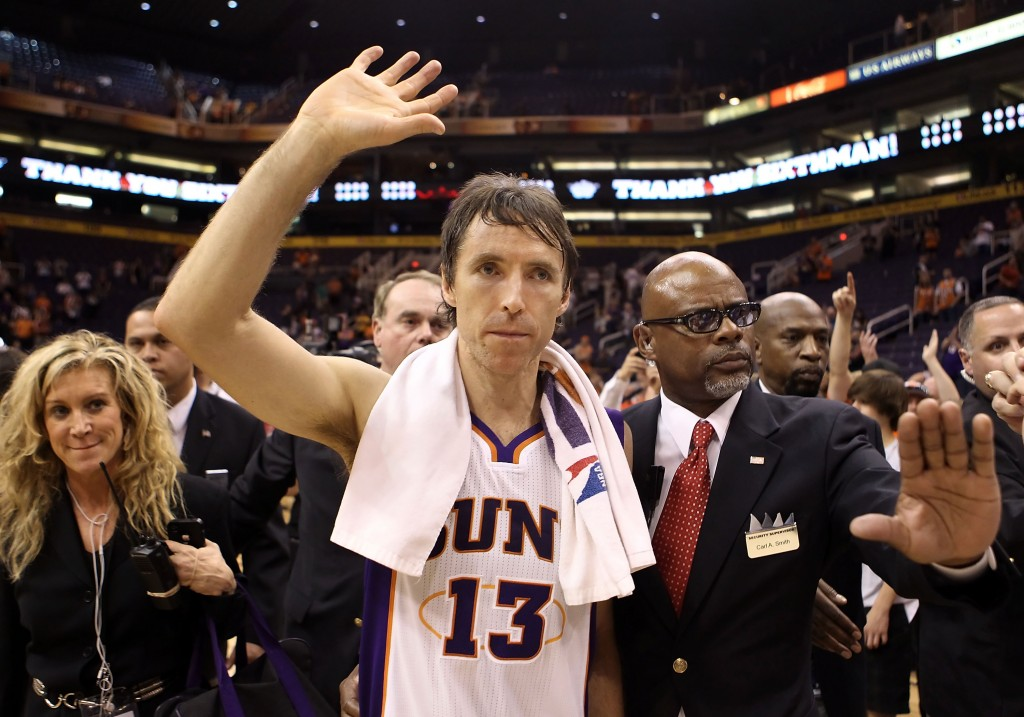 PHOENIX, AZ - APRIL 25:  Steve Nash #13 of the Phoenix Suns waves to fans as he walks off the court following the NBA game against the San Antonio Spurs at US Airways Center on April 25, 2012 in Phoenix, Arizona.  The Spurs defeated the Suns 110-106.  NOTE TO USER: User expressly acknowledges and agrees that, by downloading and or using this photograph, User is consenting to the terms and conditions of the Getty Images License Agreement.  (Photo by Christian Petersen/Getty Images)