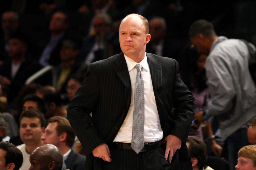 NEW YORK, NY - MARCH 26:  Head coach Scott Skiles of the Milwaukee Bucks looks on against the New York Knicks at Madison Square Garden on March 26, 2012 in New York City. NOTE TO USER: User expressly acknowledges and agrees that, by downloading and or using this photograph, User is consenting to the terms and conditions of the Getty Images License Agreement.  (Photo by Chris Chambers/Getty Images)