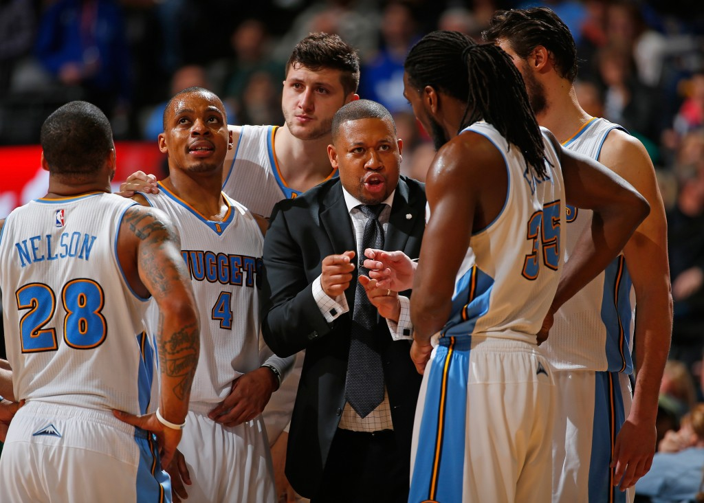 DENVER, CO - MARCH 13:  Interim head coach Melvin Hunt of the Denver Nuggets leads Jameer Nelson #28, Randy Foye #4, Jusuf Nurkic #23, Kenneth Faried #35 and Danilo Gallinari #8 of the Denver Nuggets against the Golden State Warriors at Pepsi Center on March 13, 2015 in Denver, Colorado. The Nuggets defeated the Warriors 114-103. NOTE TO USER: User expressly acknowledges and agrees that, by downloading and or using this photograph, User is consenting to the terms and conditions of the Getty Images License Agreement.  (Photo by Doug Pensinger/Getty Images)