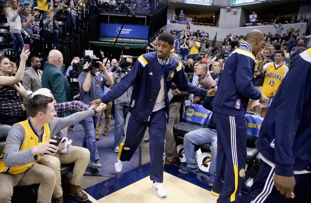 <> at Bankers Life Fieldhouse on April 5, 2015 in Indianapolis, Indiana.
