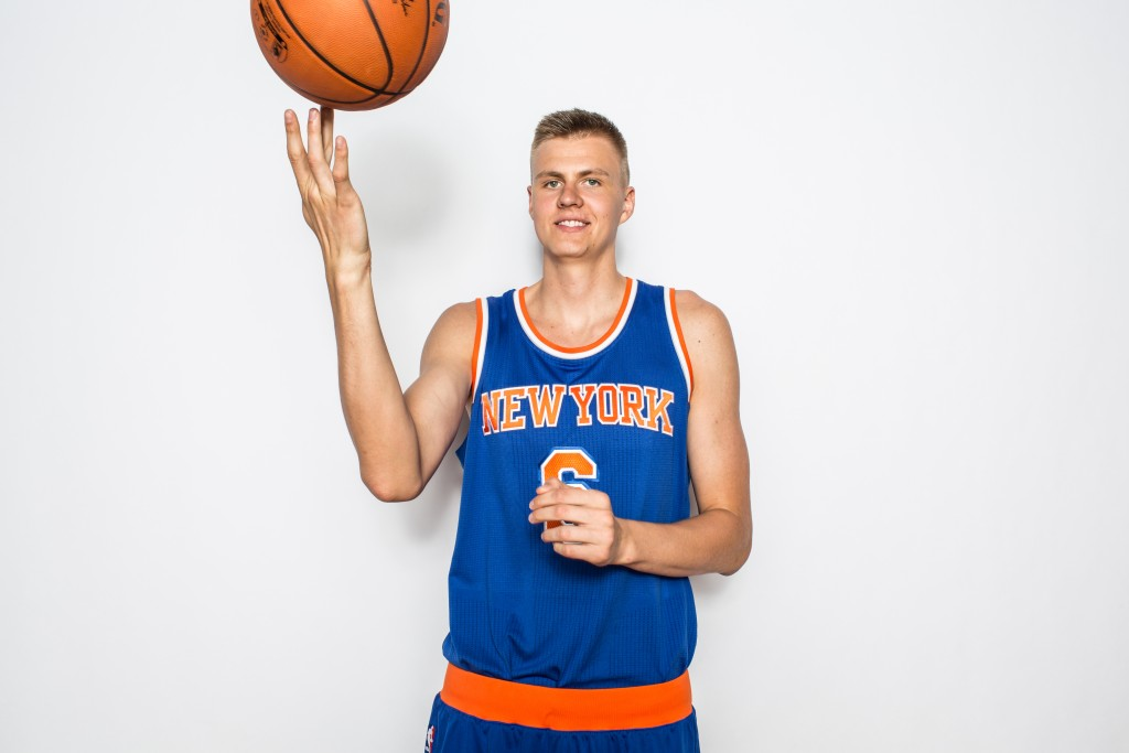 TARRYTOWN, NY - AUGUST 8: Kristaps Porzingis #6 of the New York Knicks poses for a portrait during the 2015 NBA rookie photo shoot on August 8, 2015 at the Madison Square Garden Training Facility in Tarrytown, New York.