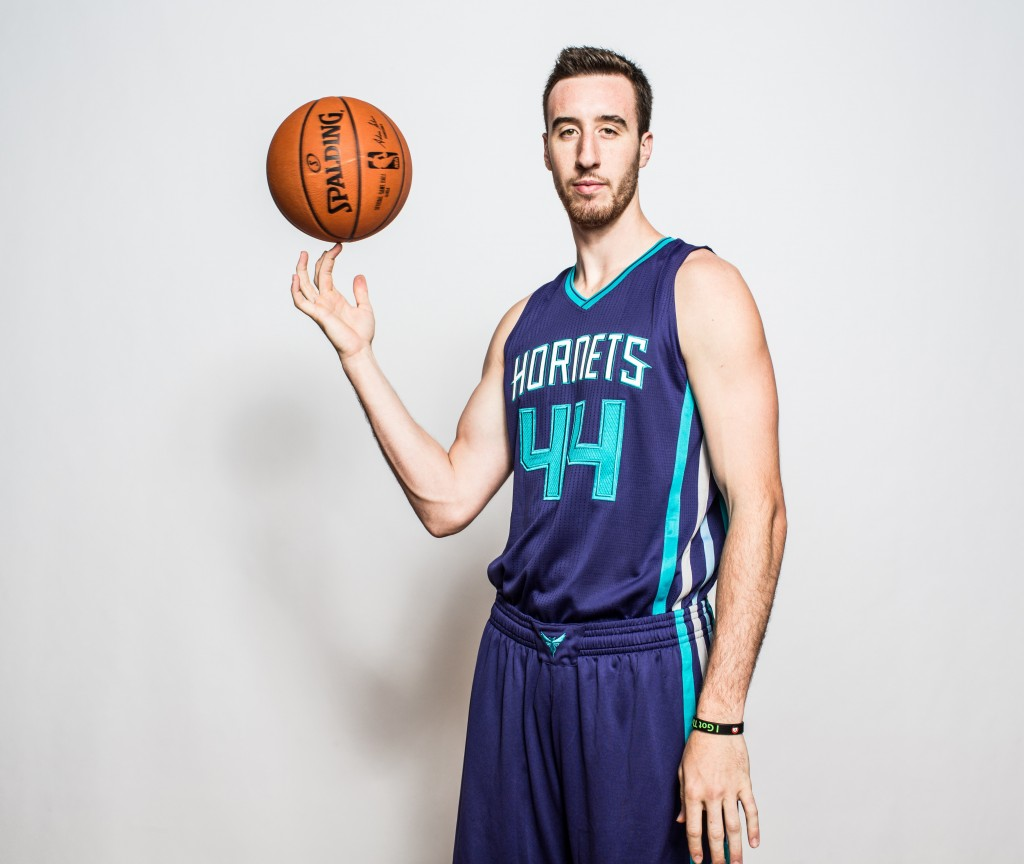 TARRYTOWN, NY - AUGUST 08:  Frank Kaminsky #44 of the Charlotte Hornets poses for a portrait during the 2015 NBA rookie photo shoot on August 8, 2015 at the Madison Square Garden Training Facility in Tarrytown, New York. NOTE TO USER: User expressly acknowledges and agrees that, by downloading and or using this photograph, User is consenting to the terms and conditions of the Getty Images License Agreement.   (Photo by Nick Laham/Getty Images)