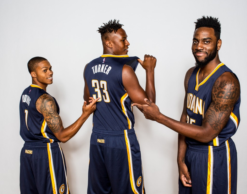TARRYTOWN, NY - AUGUST 08:  Joseph Young #1, Myles Turner #33 and Rakeem Christmas #25 of the Indiana Pacers poses for a portrait during the 2015 NBA rookie photo shoot on August 8, 2015 at the Madison Square Garden Training Facility in Tarrytown, New York. NOTE TO USER: User expressly acknowledges and agrees that, by downloading and or using this photograph, User is consenting to the terms and conditions of the Getty Images License Agreement.   (Photo by Nick Laham/Getty Images)