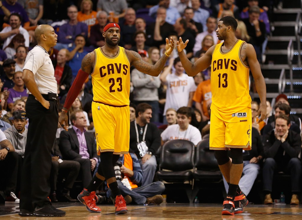 PHOENIX, AZ - JANUARY 13:  LeBron James #23 and Tristan Thompson #13 of the Cleveland Cavaliers during the NBA game against the Phoenix Suns at US Airways Center on January 13, 2015 in Phoenix, Arizona.  NOTE TO USER: User expressly acknowledges and agrees that, by downloading and or using this photograph, User is consenting to the terms and conditions of the Getty Images License Agreement.  (Photo by Christian Petersen/Getty Images)