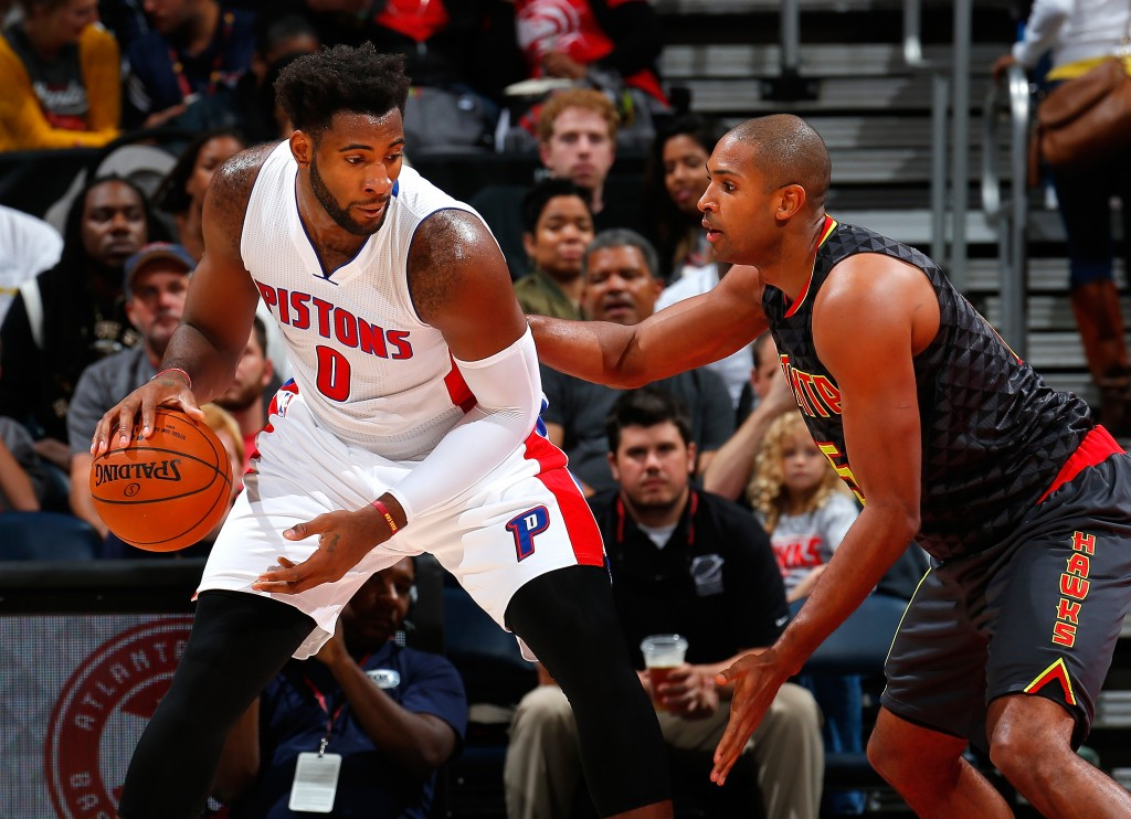 ATLANTA, GA - OCTOBER 27:  Al Horford #15 of the Atlanta Hawks defends against Andre Drummond #0 of the Detroit Pistons at Philips Arena on October 27, 2015 in Atlanta, Georgia.  NOTE TO USER User expressly acknowledges and agrees that, by downloading andor using this photograph, user is consenting to the terms and conditions of the Getty Images License Agreement.  (Photo by Kevin C. Cox/Getty Images)