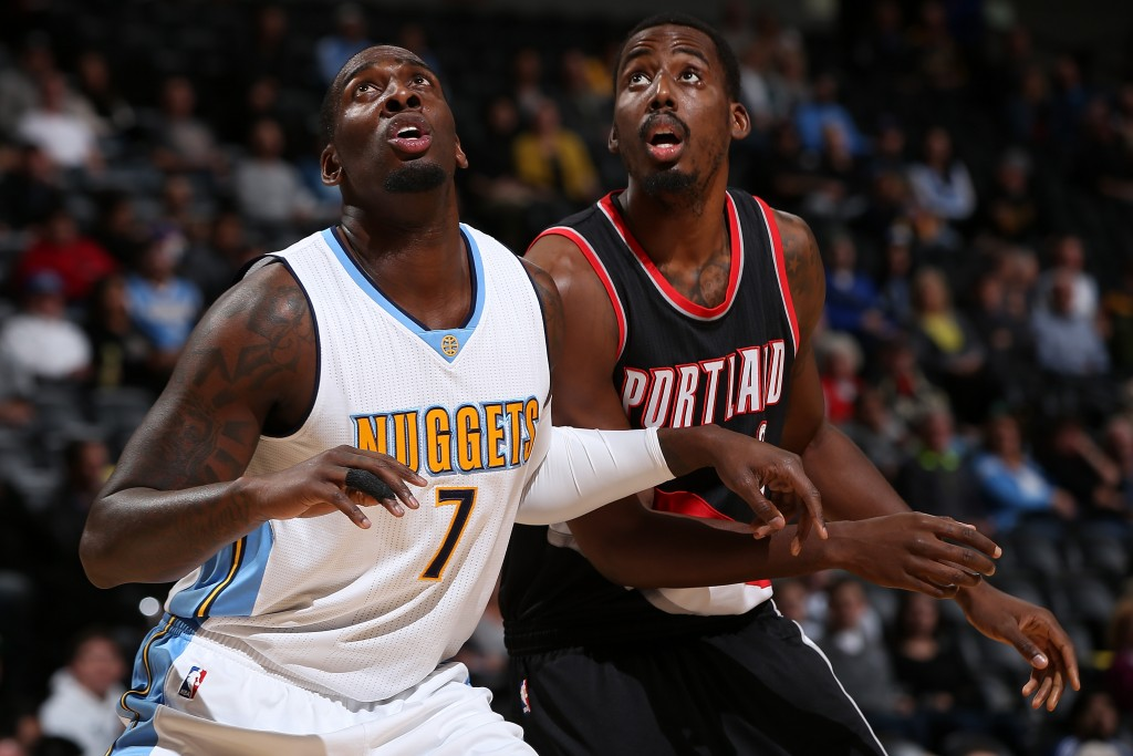 at Pepsi Center on November 9, 2015 in Denver, Colorado. The Nuggets defeated the Blazers 108-104. NOTE TO USER: User expressly acknowledges and agrees that, by downloading and or using this photograph, User is consenting to the terms and conditions of the Getty Images License Agreement.