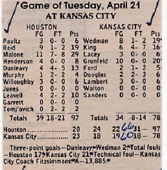 Game 1 of Rockets-Kings in 1981.